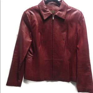 DANIER Ladies Red Leather Jacket Size Medium